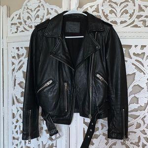 All Saints Balfern Leather Jacket US 2